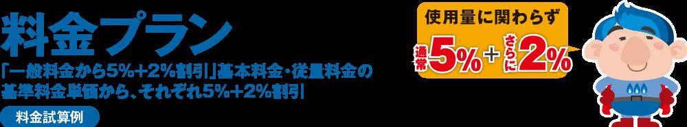 """エフビットガス料金プラン 「東京ガス(一般料金)から5%割引」基本料金・従量料金の基準料金単価から、それぞれ5%割引 使用量に関わらず""""5%割引"""""""